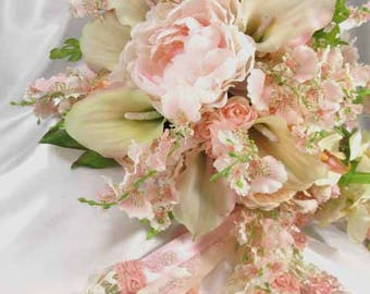Blush Pink and Ivory Orchid, Calla Lily, and Peony Large Cascading Beaded Bridal Bouquet ready to ship
