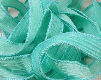 Hand Dyed Silk Ribbon - Crinkle Hand Painted Silk Jewelry Bracelet - Fairy Ribbons -Seafoam - Aquagreen