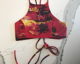 Hawaiian Print Lace Up Halter Crop Top