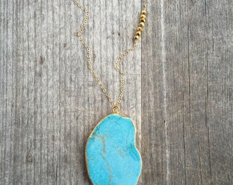 Turquoise Necklace - Turquoise Layering Necklace - Asymmetrical Necklace  - Gold Beading - Asymmetrical Turquoise Necklace