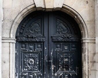 "Black Paris Door, Paris Wall Art Print, Rustic Door, Paris Architecture Print, Paris Photography, Black and White Wall Decor ""Grand Opening"""