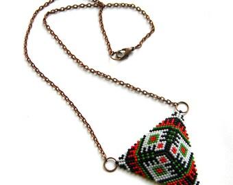 Geometric boho necklace Summer boho beaded jewelry Colorful seed bead necklace Boho ethnic jewellery Unusual necklace for women Triangle
