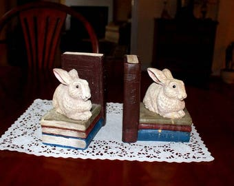 The Stone Bunny,Inc. set of Bunny Rabbit Resin Bookends