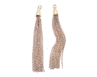 2 pcs Long Gold Plated Chain TASSEL Tassle Pendants with Hammered Caps - 4 inches