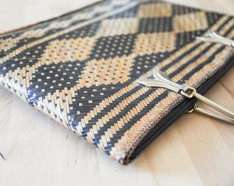 Geometric Rattan Purse • Woven Wicker Handbag • Straw Boho Clutch • Gold Metal Handle • Bohemian Summer Fashion • Slim Flat 70s Accessory