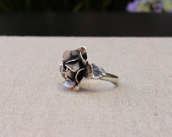 Rose ring, Sterling silver hand forged ring, Statement ring