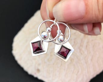Garnet Earrings, Red Stone Dangles, Artisan Handcrafted from Sterling Silver, Cranberry Red Christmas Earrings, Unique Square Circle Drop