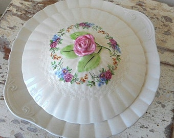 Vintage 30's Rose Floral Covered Dish  ~  Finsbury Solian Ware England