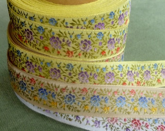 Vintage Circa 1950's Petite Shaded Roses Ribbon Trim