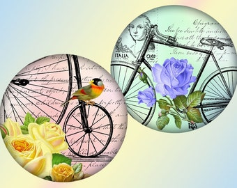 Whimsical vintage Bicycles and flowers 2,5 inch circles digital collage sheet (297) Buy 3 get 1 bonus