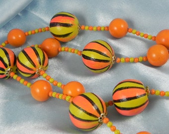 1960's Funky Mod Orange Necklace