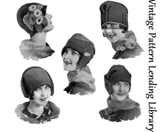 1920s Ladies Felt Cloche Hats - Reproduction Sewing Pattern #H001