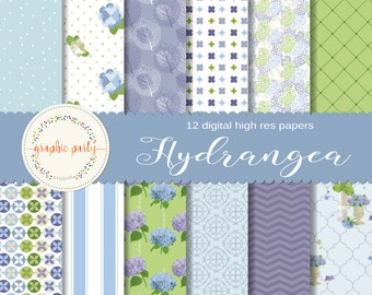 Hydrangea Garden, Spring Digital Paper for Scrapbooking