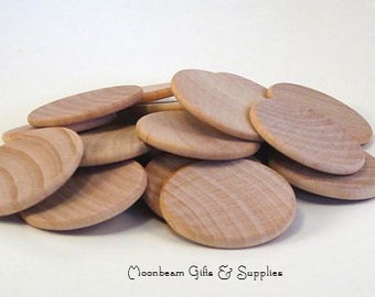 "Wood Discs Wooden Discs Natural 1.5"" Coin Set of 25"