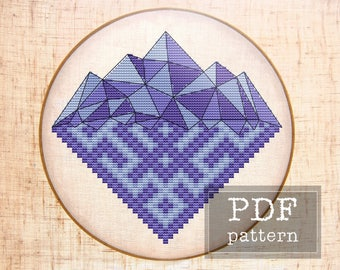 Geometric mountain cross stitch pattern Scandinavian nursery Geometric cross stitch Nordic nursery Mountain Tribal embroidery Wild xstitch