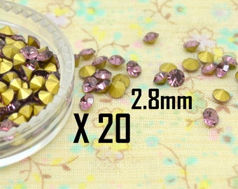 20 x bicone faceted Crystal round tapered cone Purple 2.8 mm rhinestone cabochon