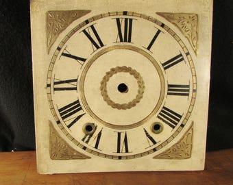 1800s Clock Face Hand Painted Original Antique Ogee Clock Gilt Part