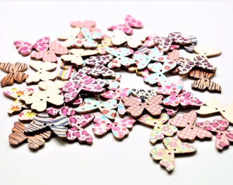 Set of 20 wooden buttons 2 holes, colorful butterflies, 28 * 21 mm