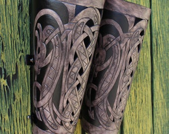 "Leather bracers, Viking- ""Floki"" FULL LENGTH celtic dragon cut-out design"
