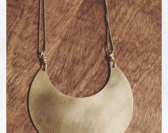 Thick brass moon necklace handforged bronze luna lunar sparklegarden statement necklace