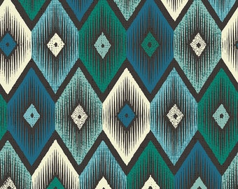 Pablo green and teal, Mexican, Aztec, ethnic fabric - 1/2 meter