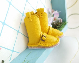 Mini Yellow Leather Boots Neo Blythe Azone Pureneemo M S Hand Made By MizuSGarden