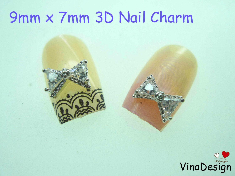 3D Diamond Bow Nail Art Diamond 3D Bow Nail Art Diamond Bow Nail Art ...