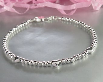 Sterling Silver Bead Bracelet with Heart Beads and a Personalized Hand Stamped Initial Heart Charm. Going Steady Jewelry. Engagement Gift.