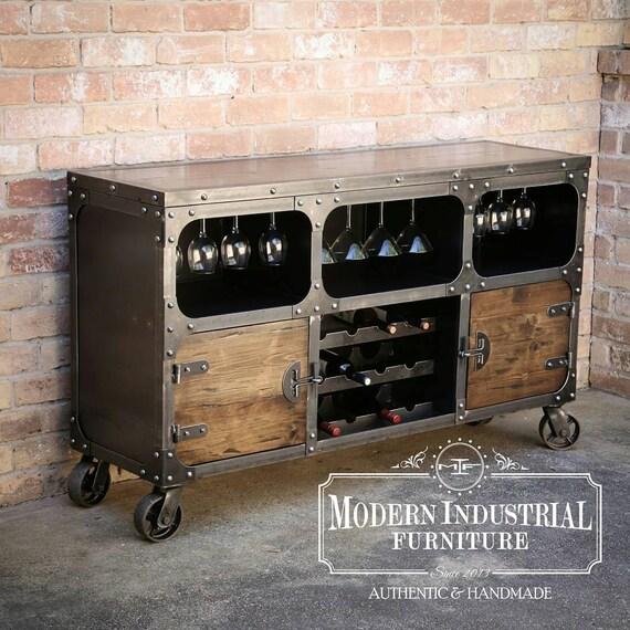 Modern Industrial Wine Cabinet Credenza Bar Storage