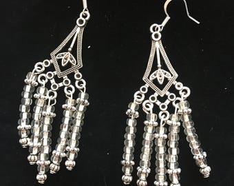 Clear glass bead chandelier earrings
