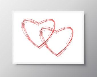 Red heart print, digital download, Printable art, Red heart poster, Red heart art, Heart print, Girl herat wall art, Instant download