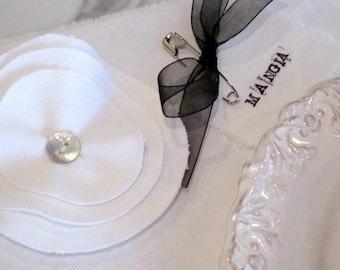 White Cotton Twill or Natural Canvas Placemats with Millinery Flowers - Original Design by Suzanne MacCrone Rogers - Set of Four {4}