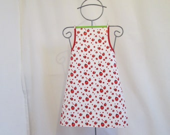 Apron in white oilcloth with ladybugs 8/10 years