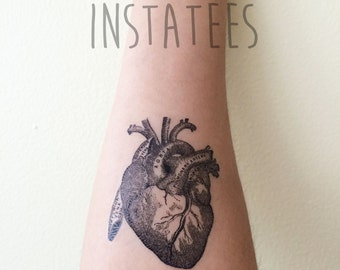 Cool Black Temporary Heart Tattoo Tumblr Style
