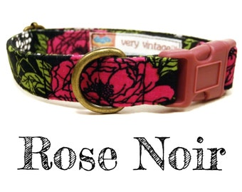 "Vintage Inspired Collar - Floral Roses Dog Collar - Girl Dog Collar - Shabby Chic Dog Collar - Antique Metal Hardware - ""Rose Noir"""