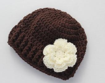 Crochet baby girl hat, baby girl hat, crochet baby beanie, girl winter hat, infant hat, crochet beanie, baby beanie, baby hat, baby girl