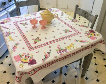 Vintage Startex Tablecloth Pretty Pink Early American Life Gossip Girls in the Corner Retro Kitchen Tablecloths