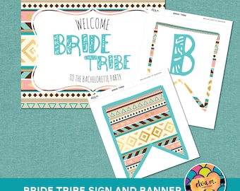 "Bride Tribe Bachelorette Banner and Sign Combo - ""Bride Tribe"" Banner and Sign. *INSTANT DOWNLOAD*"