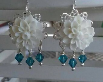 White flower earrings with swarovski crystal accents