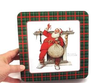 Vintage Candy tin, Gift tin, Storage tin, Santa tin, Holiday Decor, Norman Rockwell, Display tin, Christmas tin, Biscuit Tin, Santa Decor