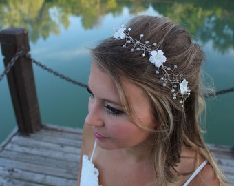 White Flower Bridal Hairband