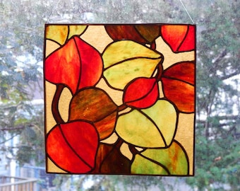 Stained Glass Autumn Leaves Panel/Leaf Suncatcher/Autumn Decoration/Housewarming Gift/Thanksgiving