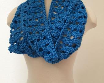 Cobalt Blue Infinity Scarf, Light Weight Blue Scarf, Lacy Blue Scarf, Infinity Blue Scarf, Gift for Her