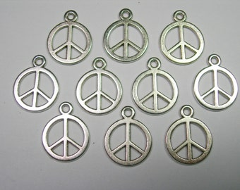 Antiqued Silver plated Peace Sign Drops, Charms - 15mm - 10 pieces