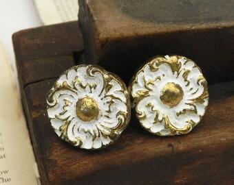 2 Vintage Floral Drawer Cabinet Dresser Knobs Pulls Handles Vintage Hardware Repurpose DIY