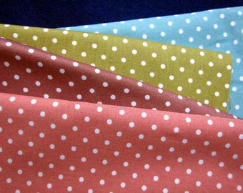 SALE Japanese Cotton Fabric - Dusty Green / Turquoise / Purple / Rose - Half Yard