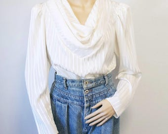 Silky Blouse Vintage 1980's White Secretary Long Sleeve Drape Neckline Size Large