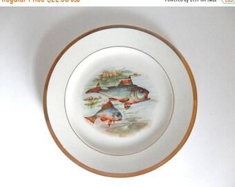 "Sale - Mid Century Koi Fish in Pond Transferware 9.25"" Plate"