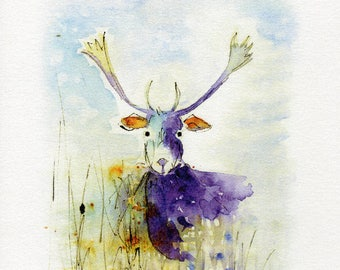Moose Print, Watercolour, Wall Art