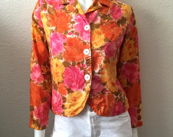 Vintage Women's 60's Silk, Cropped, Floral, Jacket, Long Sleeve by Macshore Classics (S)